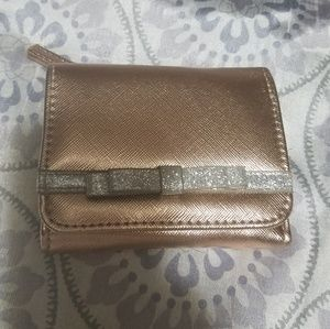 Handbags - Rose gold Wallet with glitter bow. PRETTY!